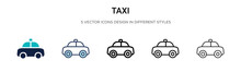 Taxi Icon In Filled, Thin Line...