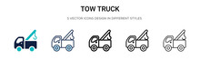 Tow Truck Icon In Filled, Thin...