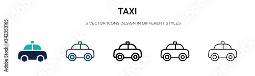 Taxi icon in filled, thin line, outline and stroke style Fototapet
