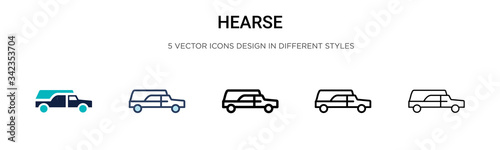 Hearse icon in filled, thin line, outline and stroke style Canvas Print