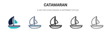 Catamaran Icon In Filled, Thin...