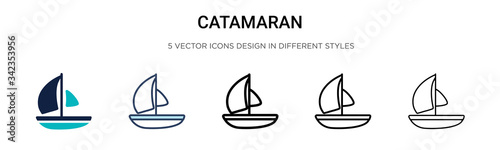 Fototapeta Catamaran icon in filled, thin line, outline and stroke style