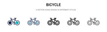 Bicycle Icon In Filled, Thin L...