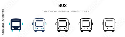 Bus icon in filled, thin line, outline and stroke style Fototapet