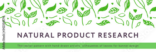 Fototapeta Environmental background. Natural hand-drawn organic food label, eco banner, healthy food concept, herbal seamless ornament, leaf pattern. Eco texture for green thinking — Spring. Modern agriculture. obraz