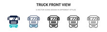 Truck Front View Icon In Fille...