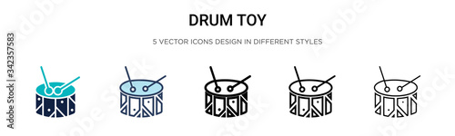 Drum toy icon in filled, thin line, outline and stroke style Fototapeta