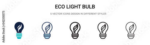 Eco light bulb icon in filled, thin line, outline and stroke style Wallpaper Mural