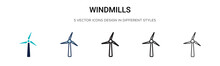Windmills Icon In Filled, Thin...