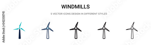 Obraz Windmills icon in filled, thin line, outline and stroke style. Vector illustration of two colored and black windmills vector icons designs can be used for mobile, ui, web - fototapety do salonu