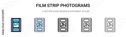 Film strip photograms icon in filled, thin line, outline and stroke style Wallpaper Mural