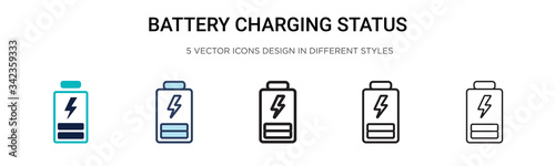 Battery charging status icon in filled, thin line, outline and stroke style Fototapet