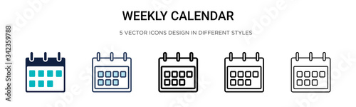 Obraz Weekly calendar icon in filled, thin line, outline and stroke style. Vector illustration of two colored and black weekly calendar vector icons designs can be used for mobile, ui, web - fototapety do salonu