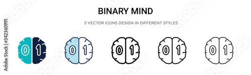 Photographie Binary mind icon in filled, thin line, outline and stroke style