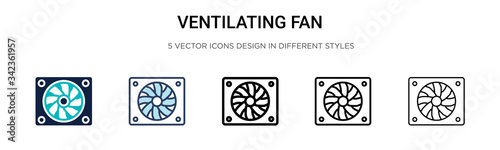 Ventilating fan icon in filled, thin line, outline and stroke style Fotobehang