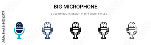 Big microphone icon in filled, thin line, outline and stroke style Fototapete