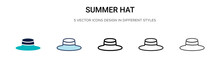 Summer Hat Icon In Filled, Thi...