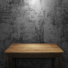 Wood Table On Concrete Wall Wi...