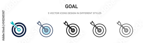 Goal icon in filled, thin line, outline and stroke style Canvas Print