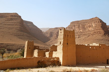 Merzouga, Morocco - 02.21.2019: Ruins Of A Fortress In The Sahara Desert
