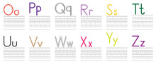 Writing Practice Of English Letters From O To Z. Education For Children. Vector Illustration