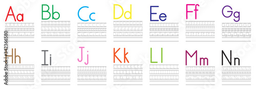 Writing practice of English letters from A to N Canvas