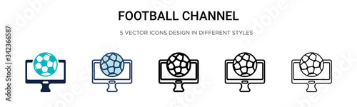 Football channel icon in filled, thin line, outline and stroke style Canvas Print
