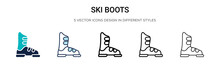 Ski Boots Icon In Filled, Thin Line, Outline And Stroke Style. Vector Illustration Of Two Colored And Black Ski Boots Vector Icons Designs Can Be Used For Mobile, Ui, Web