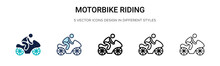 Motorbike Riding Icon In Fille...