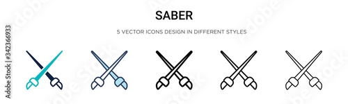 Saber icon in filled, thin line, outline and stroke style Wallpaper Mural