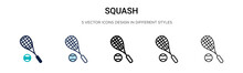Squash Icon In Filled, Thin Line, Outline And Stroke Style. Vector Illustration Of Two Colored And Black Squash Vector Icons Designs Can Be Used For Mobile, Ui, Web