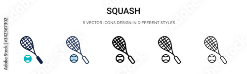 Obraz Squash icon in filled, thin line, outline and stroke style. Vector illustration of two colored and black squash vector icons designs can be used for mobile, ui, web - fototapety do salonu