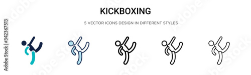 Kickboxing icon in filled, thin line, outline and stroke style Canvas-taulu