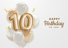 Happy 10th Birthday Gold Foil ...