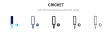 Cricket Icon In Filled, Thin L...