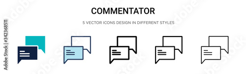 Obraz Commentator icon in filled, thin line, outline and stroke style. Vector illustration of two colored and black commentator vector icons designs can be used for mobile, ui, web - fototapety do salonu
