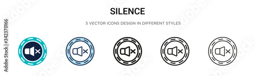 Fototapeta Silence icon in filled, thin line, outline and stroke style