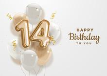 Happy 14th Birthday Gold Foil ...