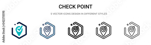 Canvastavla Check point icon in filled, thin line, outline and stroke style