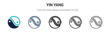 Yin Yang Symbol Icon In Filled, Thin Line, Outline And Stroke Style. Vector Illustration Of Two Colored And Black Yin Yang Symbol Vector Icons Designs Can Be Used For Mobile, Ui, Web