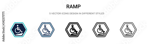Ramp icon in filled, thin line, outline and stroke style Canvas
