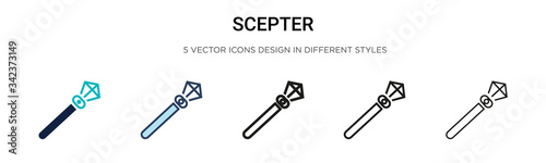 Scepter icon in filled, thin line, outline and stroke style Wallpaper Mural