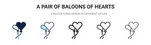 A Pair Of Baloons Of Hearts Ic...