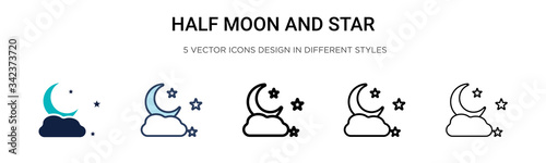 Half moon and star icon in filled, thin line, outline and stroke style Canvas Print