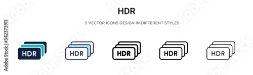 Hdr icon in filled, thin line, outline and stroke style Wallpaper Mural