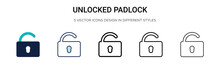 Unlocked Padlock Icon In Fille...