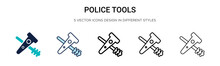 Police Tools Icon In Filled, T...
