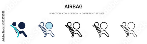 Airbag icon in filled, thin line, outline and stroke style Canvas Print