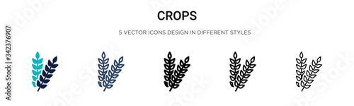 Fotografiet Crops icon in filled, thin line, outline and stroke style
