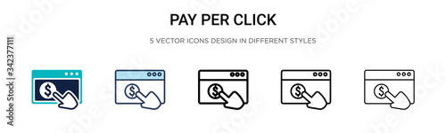 Photo Pay per click icon in filled, thin line, outline and stroke style